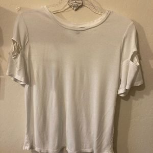 Top shop white T-shirt with bow tie sleeve size 6